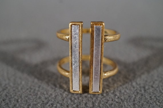 Vintage Silver Yellow Gold Tone Bold Wide Open Space Design Cigar Band Ring, Size 6