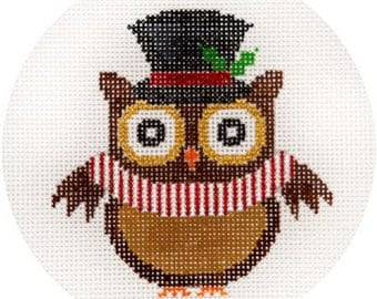 "NEEDLEPOINT HandPainted JP Needlepoint Top Hat Owl Ornament 4.5"" - Free US Shipping!!!"