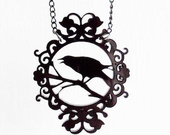 Crow cameo necklace