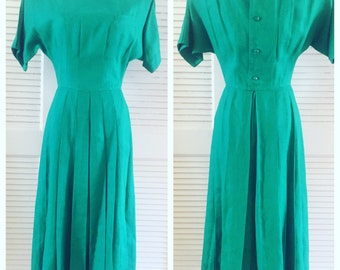 Vintage 1960's Green Dress, Amazingly Detailed