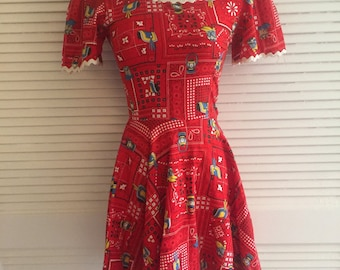 Amazing Summer Dress, Novelty Print Mini Dress, Cowgirl Dress, trending novelty print dress