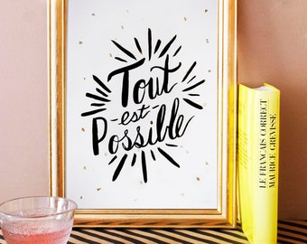 Tout est Possible black art print. french art print. french home decor. typographic poster. typography.