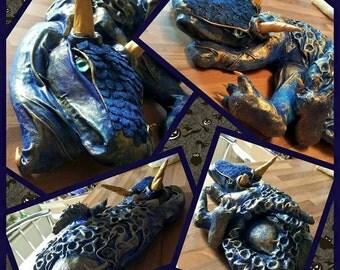 Baby Blue Dragon - Papier Mache Sculpture