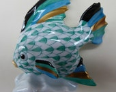 Collectable Hungarian Herend Porcelain ANGEL FISH Figurine with Blue Fishnet Decoration