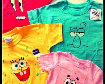 SpongeBob and friends Hand Painted Shirt