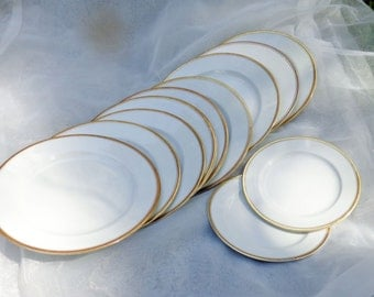 10 Gilt-Rimmed Porcelain Dessert Plates, and two smaller plates-W. H. Grindley and Co.