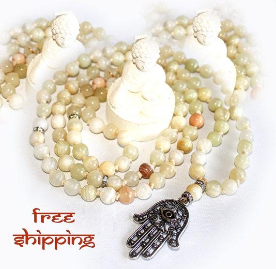 Japa Mala Hand Knotted 108 Jadeite Gemstone 8mm Beads Prayer Yoga Necklace for Meditation and Mantra - free Shipping