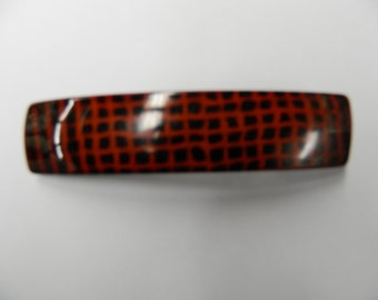 Vintage red and black hair barrette clip