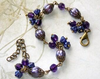 Purple Bracelet, Purple Swarovski Crystal Bracelet, Purple Czech Glass Bracelet, Boho, Handmade Bracelet, Flower Dangle Bracelet, Vintage