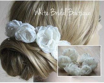 Wedding hair flower Ivory hair flower Bridal hair flower Wedding ivory haedpiece Hair peony flower Ivory hair peony Ivory hair flower pins