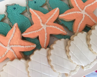 Sealife Cookie Favors, Seahorse Cookies, Seashell Cookies, Starfish Cookies, Bridal Shower Favors, Beach Theme Favors, Dessert Table, Gift