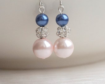 Blush and Navy Earrings, Blush Pink earrings, Navy blue earrings, Blush earrings, Bridesmaid jewelry, Bridesmaid earrings, Bridesmaid Gift