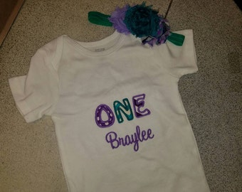ONE 1st birthday bodysuit 12 month bodysuit with matching hair bow