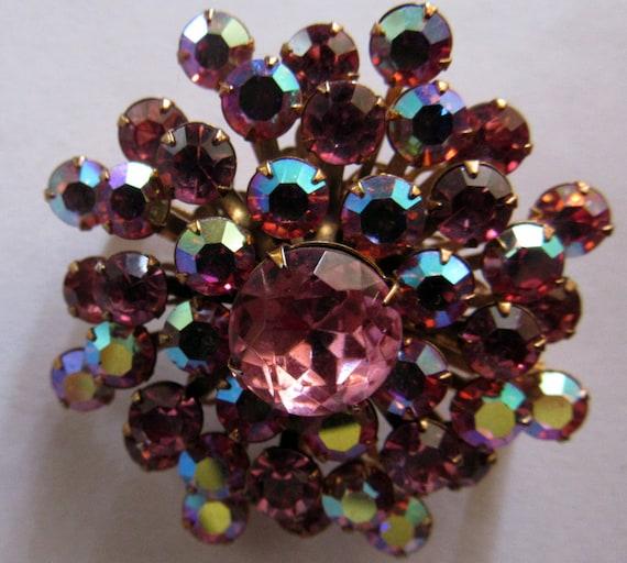 Pink Rhinestone Brooch Pin