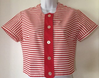 Darling 1960's Nautical Cropped Cotton Blouse Deadstock