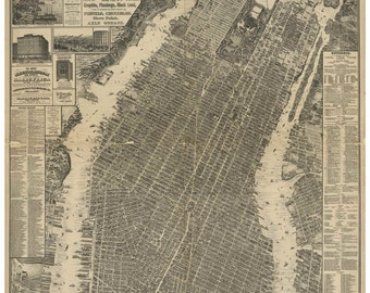 New York City - 1879 Bird's Eye View  Will L. Taylor -Galt & Hoy- Reprint