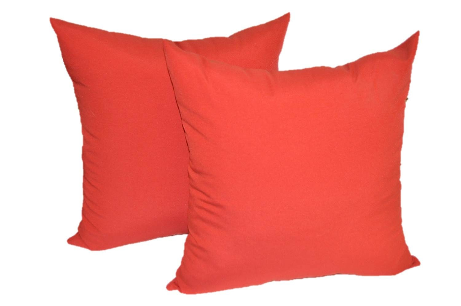 SET OF 2 17 Solid Red Decorative Throw Pillows