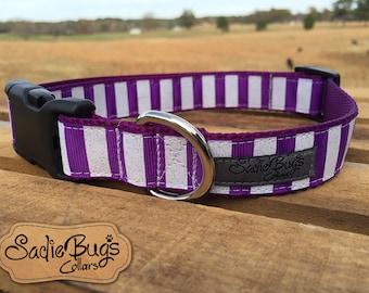 Purple Stripes dog collar
