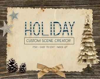 Happy Holidays Custom Scene Creator - Photoshop - Easy to use!