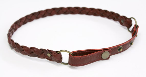 SALE - THE RAIN - plaited thin leather belt, tie at the waist - red