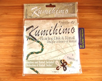 Kumihimo Japanese Braiding Kit - Round Disk - Satin Rattail x 4 colours, instructions included