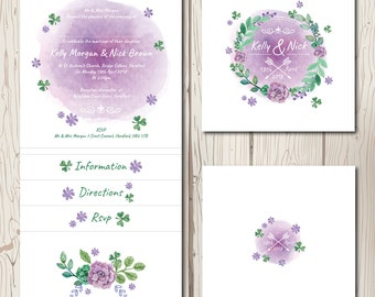 Spring Pocketfold Wedding Invitation, rustic country wedding, rsvp, watercolour, bohemian, floral invite, personalised and handmade