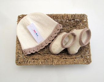 Hand Knitted Cotton Baby Girl Hat and Bootee Set - Ready to Ship!