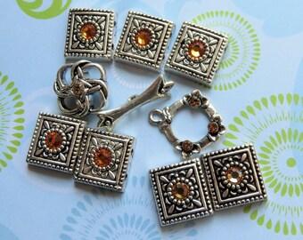 Silver Plate with Swarovski Topaz Crystal Beads, 9 pcs - Item 3489