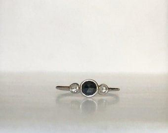 Trinity rosecut diamond ring, three stone ring, black rose cut diamond ring, gold black diamond band, dainty three stone ring