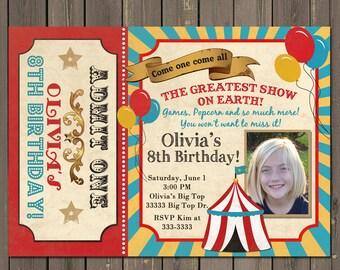 Circus Invitation, Carnival Birthday Invitation, Vintage Circus Invite, Carnival Party, Big Top Birthday, Photo Invitation