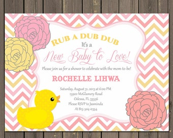 Rubber Duck Baby Shower Invitation, Pink Duck Baby Shower Invitation, Pink and Yellow Chevron Invite, Printable or Printed