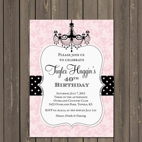 Adult Birthday Party Invitation, 40th Birthday, 50th