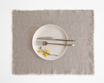 Natural Stone Washed Linen Placemat With Fringes
