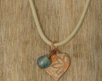 Simple heart etched copper pendant