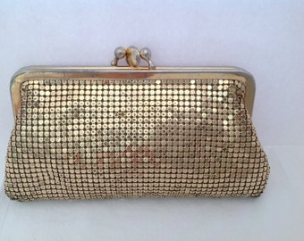 Vintage Whiting & Davis Gold Mesh Coin Purse 1960's