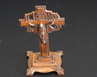 FREE SHIPPING, Vintage, INRI Crusifix Copper Cross