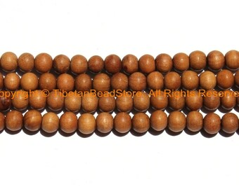 50 beads Natural Sandalwood Beads 6mm - Ethnic Nepal Tibetan Beads - Mala Making Supplies - LPB149-50