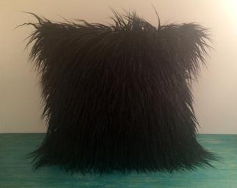 "Faux Fur Pillow Cover - 18"" x 18"" Black Long Silky Mongolian Faux Fur Pillow Cover"