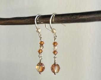 Sterling Silver Amber Swarovski Elements Crystal Drop Earrings