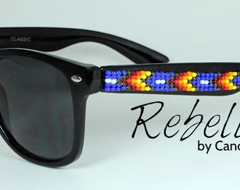 Hand Beaded Sunglasses Wayfarer Blue Fire