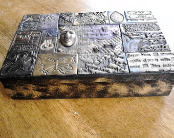Polymer clay mosaic tile wooden mixed media keepsake/jewellery box