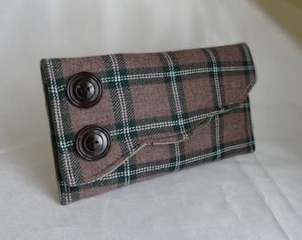 Vintage Plaid Wool Clutch with Barkcloth Era lining