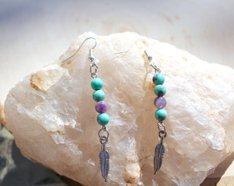 Turquoise & Amethyst Feather Charm earrings