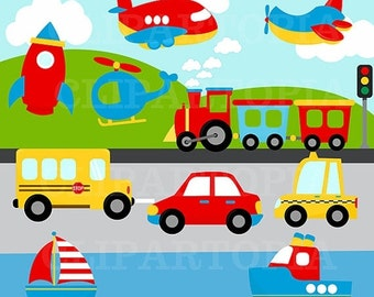 50% OFF SALE Transportation Digital Clipart /Transportation Clip Art /Plane, Helicopter, Train, Automobile, Boat, Rocket  For Personal and C