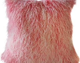 Mongolian Sheepskin Frosted Pink Throw Pillow