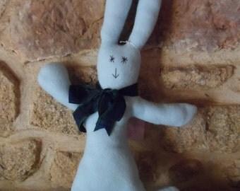 Adorable 100% hand-sewn blue rabbit.