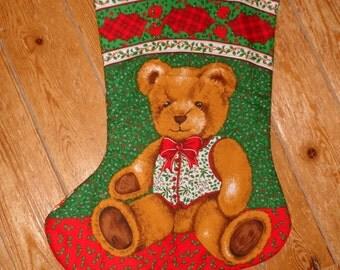 Christmas Stocking : 100% Hand sewn teddy stocking