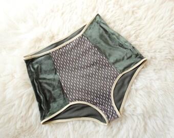 Olive high waitsted panties ~ Khaki panties ~ Green lingerie ~ Velour panties ~ Green panties ~ Green shorts ~ Hipster panties
