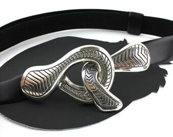 Black Leather Belt with Silver Interlocking Buckle Adjustable Length size Medium / Large
