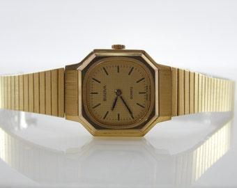Vintage 1982 Bulova C893823 Gold-tone Womens Swiss Quartz Watch